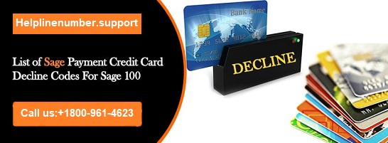 List of Sage Payment Credit Card Decline Codes for Sage 100