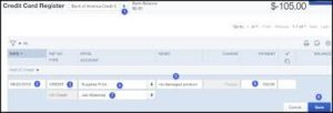 credit card deposit window in QuickBooks