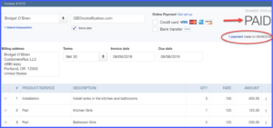 Receive payment window in QuickBooks